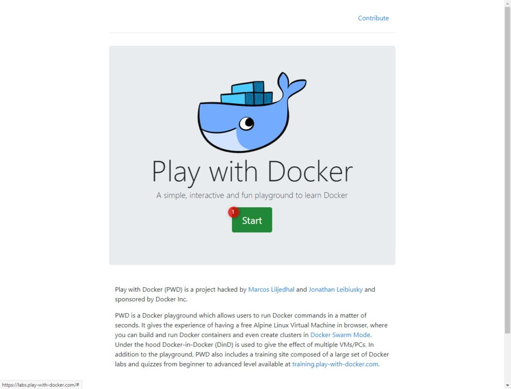 Play with Docker Start