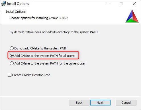 CMakeのインストールオプションを選択する