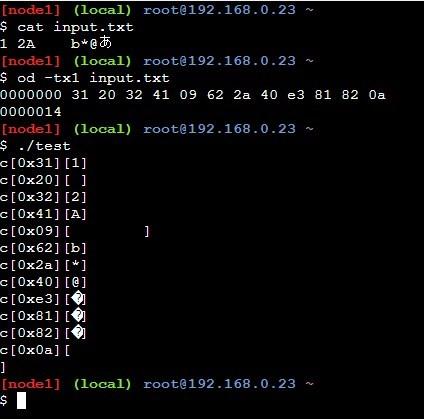 fgetcの使い方サンプルソースの実行結果