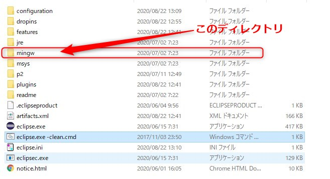 MinGW-w64のディレクトリ