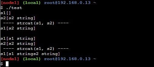 strcatを使ったサンプルプログラムの実行結果