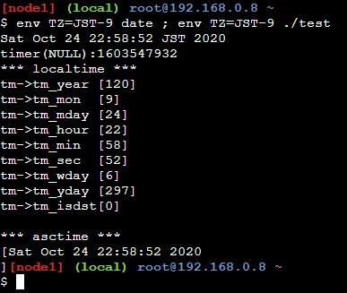 asctimeを使ったサンプルプログラムの実行結果